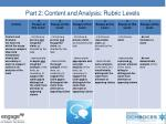 part 2 content and analysis rubric levels