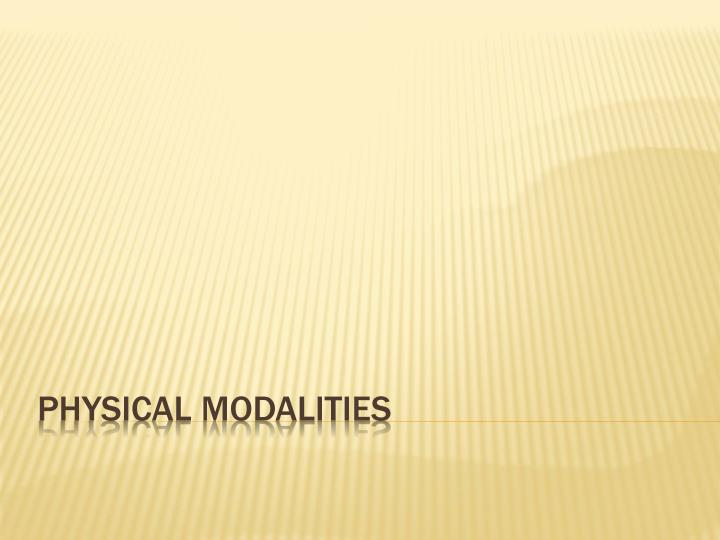 physical modalities n.