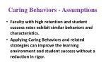 caring behaviors assumptions