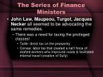 the series of finance ministers