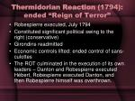 thermidorian reaction 1794 ended reign of terror