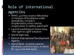 role of international agencies