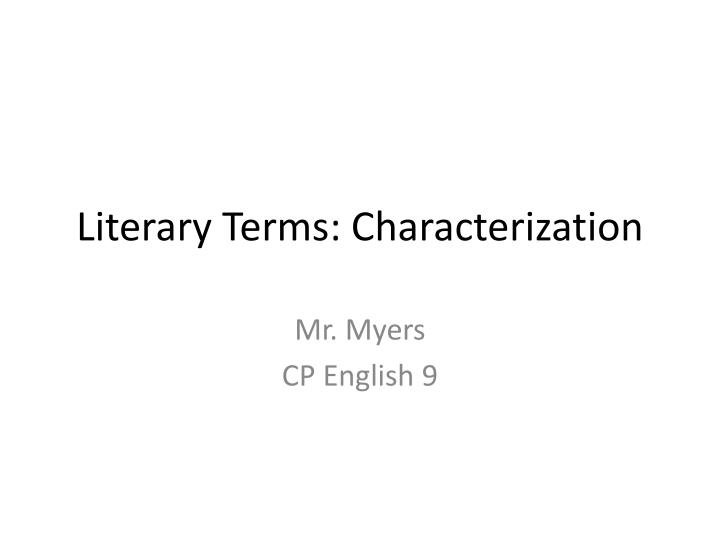 literary terms characterization n.