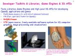 developer toolkits libraries game engines 3d apis