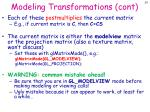 modeling transformations cont