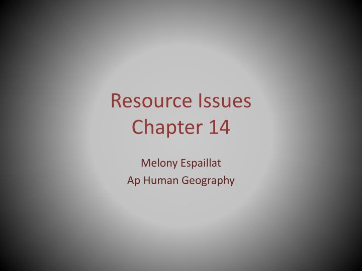 resource issues chapter 14 n.