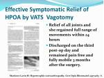 effective symptomatic relief of hpoa by vats vagotomy