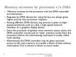 memory accesses by processor v s dma