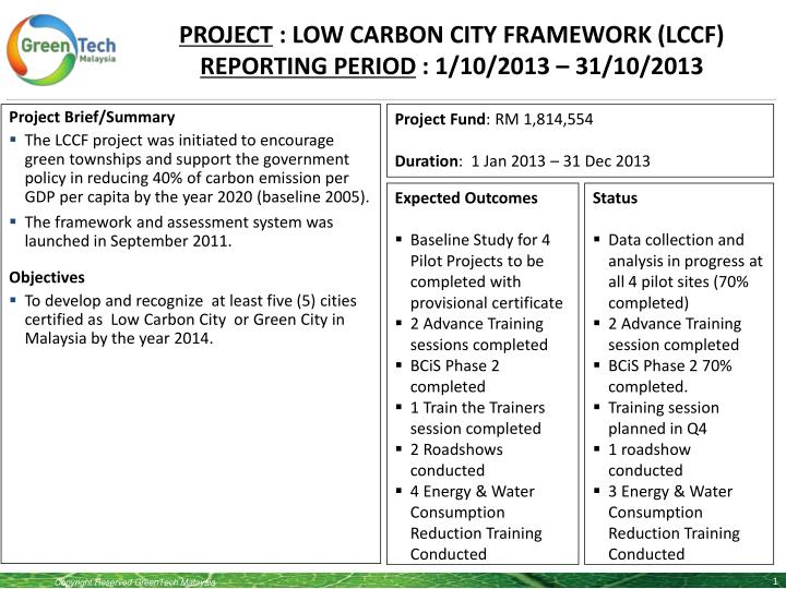 project low carbon city framework lccf reporting period 1 10 2013 31 10 2013 n.