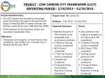 project low carbon city framework lccf reporting period 1 10 2013 31 10 2013