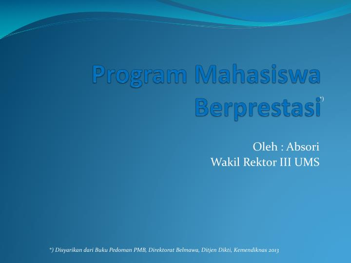 program mahasiswa berprestasi n.
