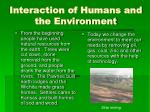 interaction of humans and the environment