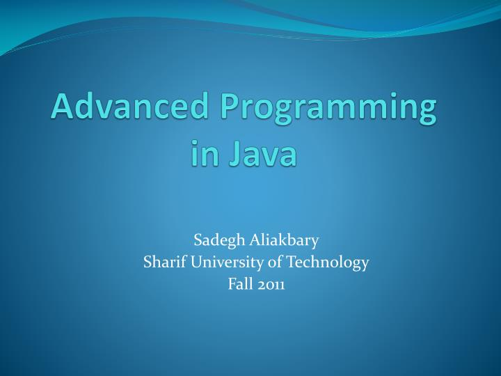 advanced programming in java n.