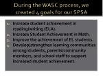 during the wasc process we created 4 goals for our spsa