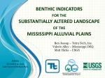 benthic indicators for the substantially altered landscape of the mississippi alluvial plains