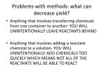 problems with methods what can decrease yield
