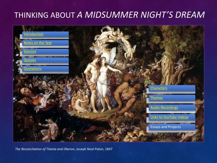 "theme of a midsummer night dream essay Love in ""a midsummer nights dream"" essay in place shakespeare adds the themes of of techniques and themes to portray love in ""a midsummer nights dream""."