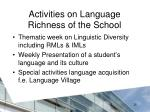 activities on language richness of the school