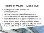 actors at macro meso level