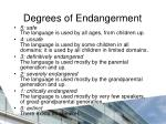 degrees of endangerment
