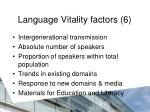 language vitality factors 6