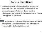 secteur touristique