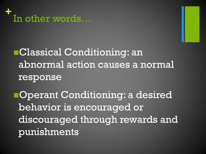 classical and operant conditioning on phobias and Classical conditioning a 5 page paper that discusses different issues relative to classical and operant conditioning each is defined with examples of forming associations between a stimulus and response.