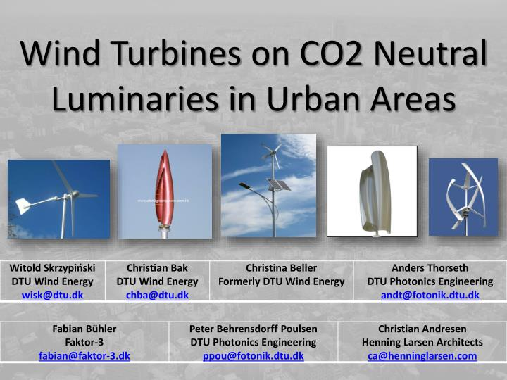 wind turbines on co2 neutral luminaries in urban areas n.