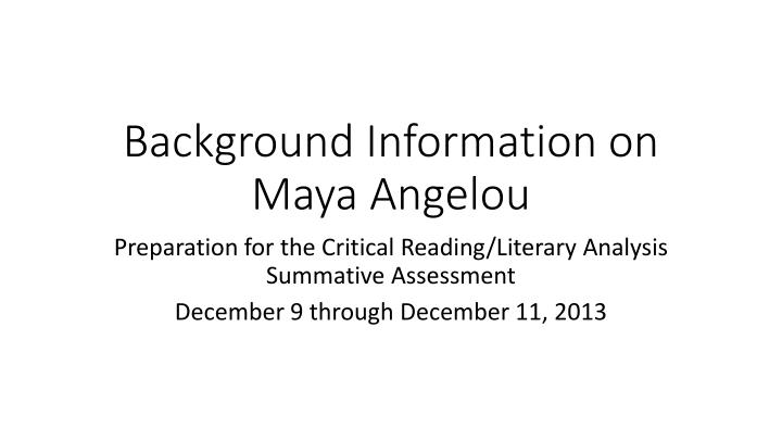 background information on maya a ngelou n.