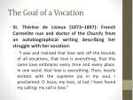 the goal of a vocation1