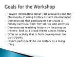 goals for the workshop