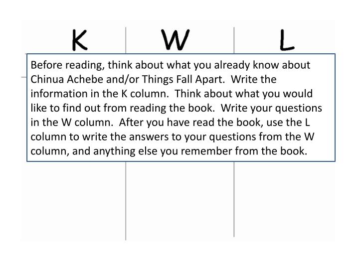Before reading, think about what you already know about Chinua Achebe and/or Things Fall Apart.  Write the information in the K column.  Think about what you would like to find out from reading the book.  Write your questions in the W column.  After you have read the book, use the L column to write the answers to your questions from the W column, and anything else you remember from the book.