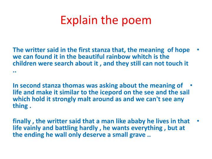 Explain the poem