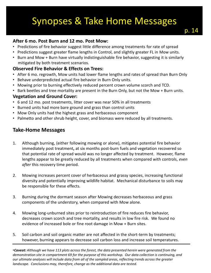 Synopses & Take Home Messages