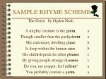 sample rhyme scheme