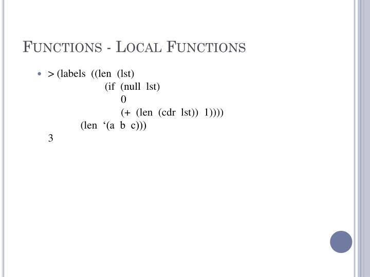 Functions - Local Functions