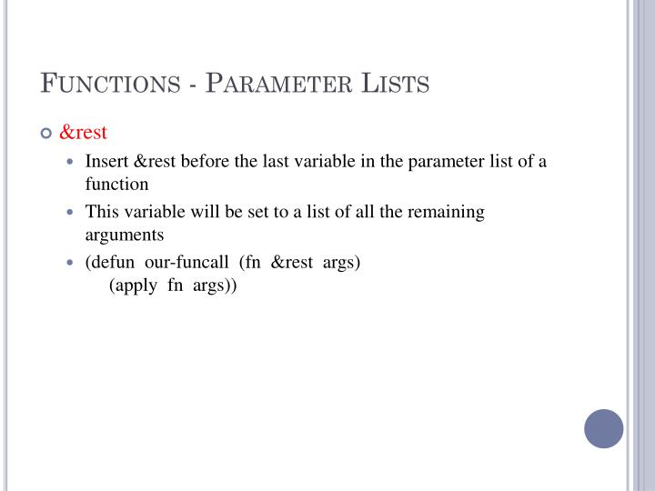 Functions - Parameter Lists