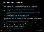 good to know supplier