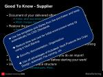 good to know supplier1