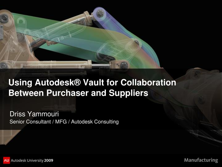 using autodesk vault for collaboration between purchaser and suppliers n.