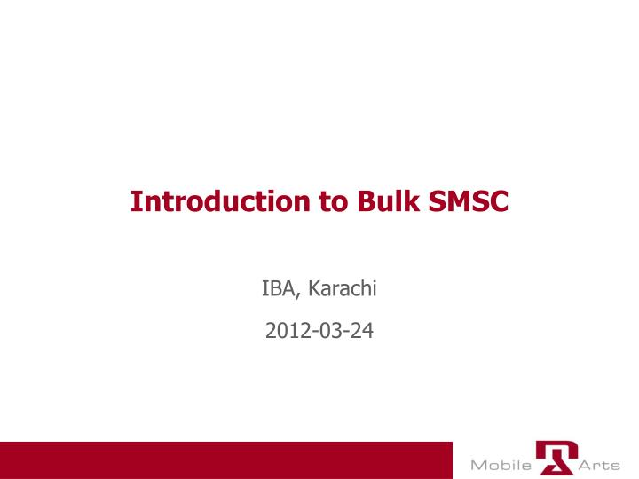 introduction to bulk smsc n.