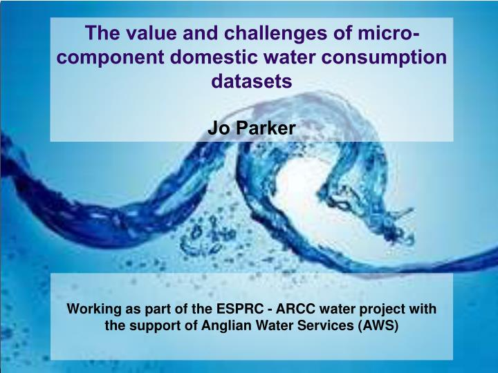 the value and challenges of micro component domestic water consumption datasets jo parker n.