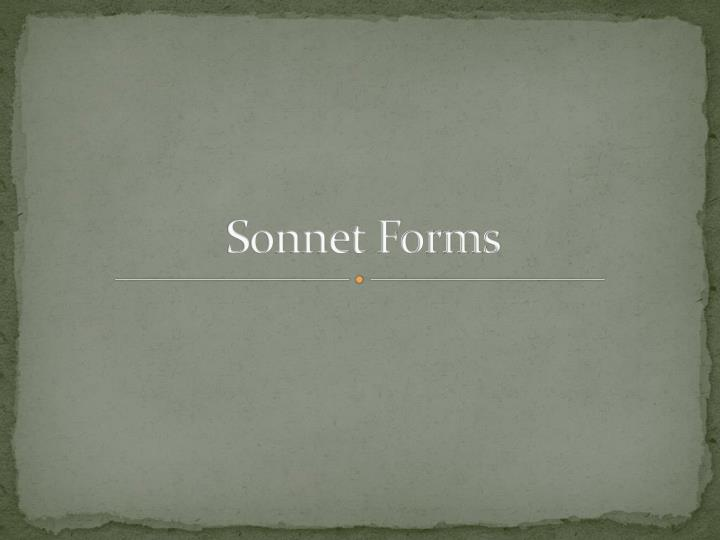 sonnet forms n.