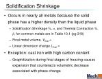 solidification shrinkage