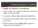 analyzing syntax in anthem
