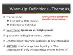 warm up definitions theme 3