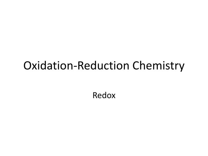 oxidation reduction chemistry n.