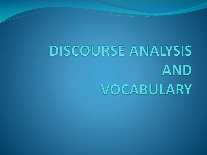 discourse analysis and vocabulary n.
