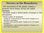 stresses at the boundaries
