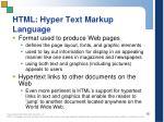html hyper text markup language